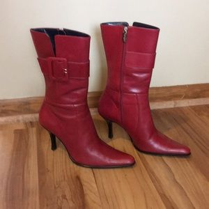 VOZ red mid calf boots